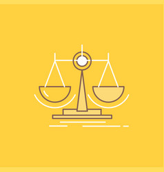 Balance decision justice law scale flat line vector