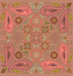 Bandana paisley design- colorful print square vector