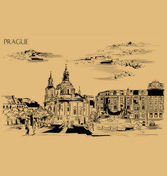beige hand drawing prague 4 vector image