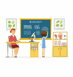 Biology lesson at school - modern cartoon people vector