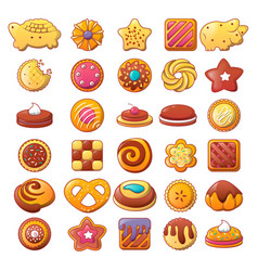 biscuit cookies icons set flat style vector image