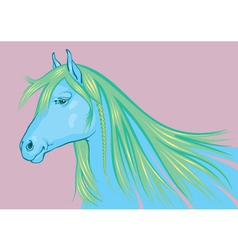 Blue-Green Horse the symbol of 2014 New Year vector image