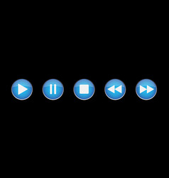 blue white music control buttons set vector image