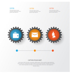 business icons set collection of envelope work man vector image
