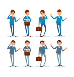 Business man with briefcase set of poses emotions vector