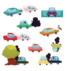 Car crash road accident vehicle collision set vector