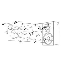 Cartoon man blow away big loudspeaker vector