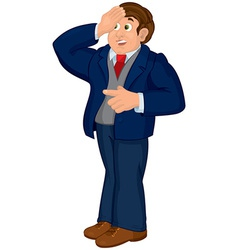 Cartoon man in blue suit touching his forehead vector