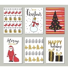 Christmas and Happy New Year greeting cards with vector image