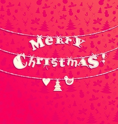 christmas applique background garland letters vector image