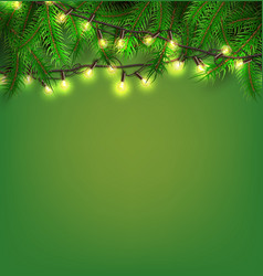 christmas light realistic garland spruce vector image
