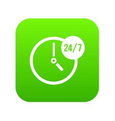 clock 24 7 icon digital green vector image