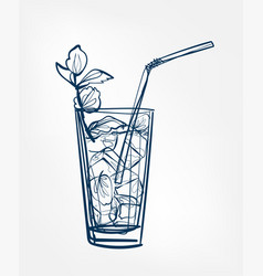 cocktail one line art drink isolated sketch vector image