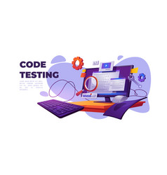 Code testing functional test for pc cartoon banner vector