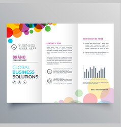 Colorful circle abstract trifold brochure design vector