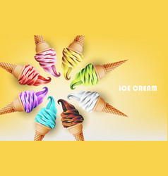 Colorful ice cream cone different fruit flavors vector