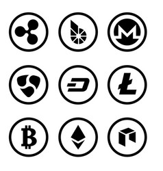 cryptocurrency or virtual currencies black icon vector image