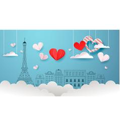 cute paris doodle background red paper cut heart vector image