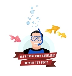 Diving design concept set with instructor vector image