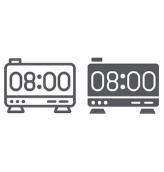 Electronic alarm clock line and glyph icon vector