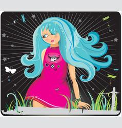 emo teenage girl vector image