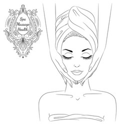 Face massage line art vector