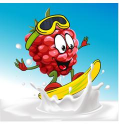funny raspberry cartoon surfing on milk splashing vector image