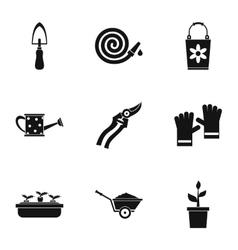 Garden icons set simple style vector