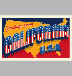 greetings from california usa retro style postcard vector image