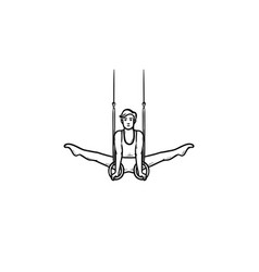 Gymnast on rings hand drawn outline doodle icon vector