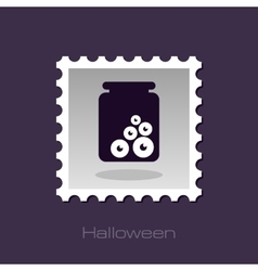 Halloween eye glass jar stamp vector