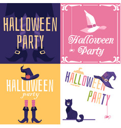 halloween party invitation cards set with witch vector image