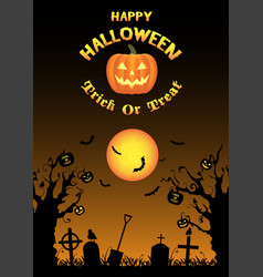 halloween zombie hand on grave with dead tree vector image