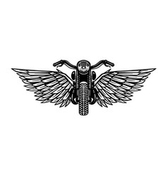 Hand drawn motorcycle with wings design element vector