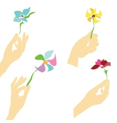 Hands With Flowers vector