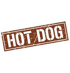 Hot dog square grunge stamp vector
