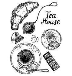 Ink hand drawn style tea house set vector