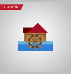 Isolated wheel flat icon watermill element vector