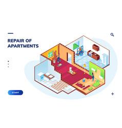 isometric apartment with repair workers repairman vector image
