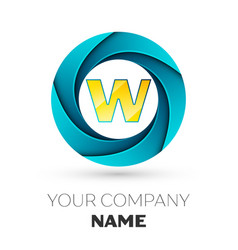 letter w logo symbol in the colorful circle vector image