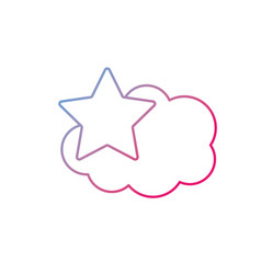 line cute cloud and star weather design icon vector image