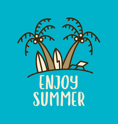 linear design with summer beach concept vector image
