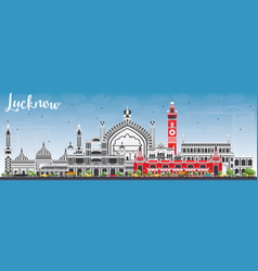 lucknow skyline with gray buildings and blue sky vector image