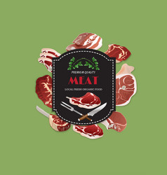 meat butcher shop background poster vector image