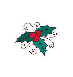 mistletoe christmas decoration hand drawn vector image