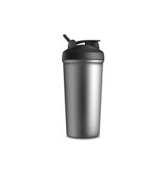 Mockup blank aluminum sport shaker bottle vector