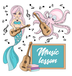 Music lesson school autumn sea underwater vector
