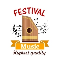 Music sign of folk musical instrument with notes vector image