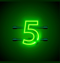 neon city font sign number 5 signboard five vector image