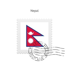 Nepal Flag Postage Stamp vector